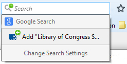 Screenshot of Library of Congress search engine field for Firefox.
