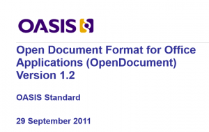 Detail of the cover page for the OASIS publication of the ODF 1.2 standard.