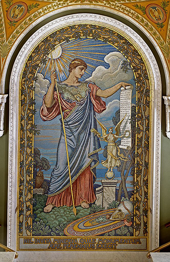 Photo of Mosaic of Minerva, Roman goddess of wisdom, in the Jefferson building, Library of Congress.