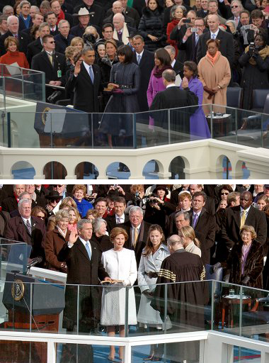 Photos: TOP: January 21, 2013, Fifty-Seventh Inaugural Ceremonies, President Barack H. Obama and Vice President Joseph R. Biden Jr. Photo from U.S. Senate Photo Studio. BOTTOM: January 20, 2005, Fifty-Fifth Inaugural Ceremonies, President George W. Bush and Vice President Dick Cheney. Photo from Architect of the Capitol.