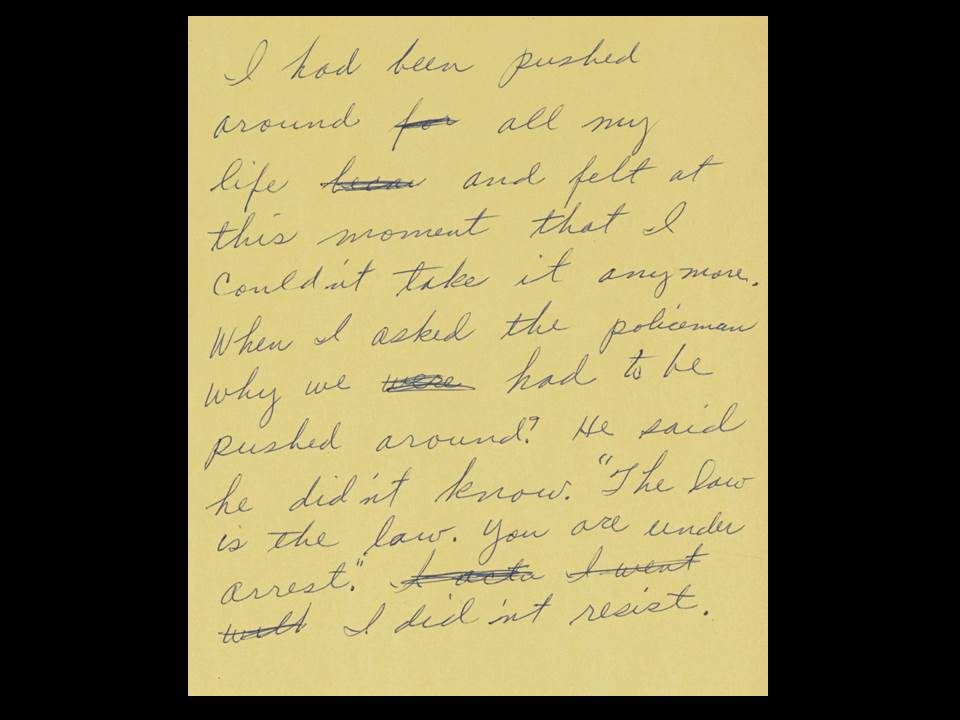 Note handwritten by Rosa Parks