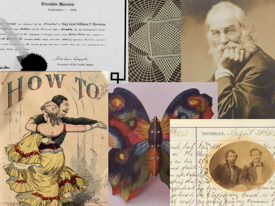 Representative images from collections released on loc.gov in 2016: a portrait of Walt Whitman, an image of lace, ballroom dancing manual cover....