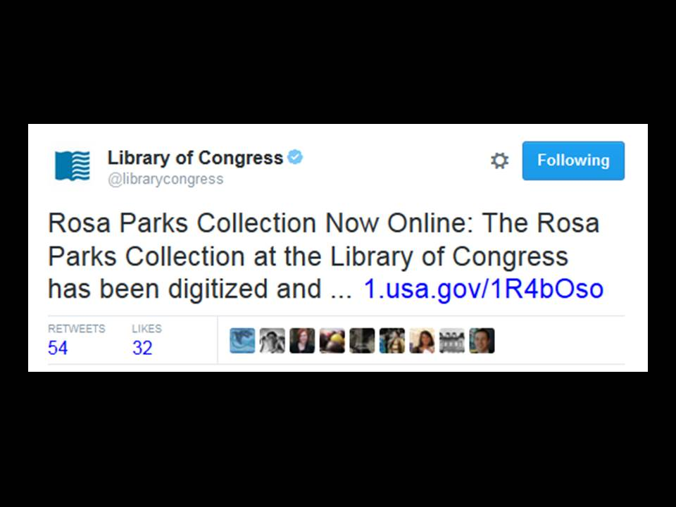 Ndi talk at collections as data coffeehouse image of a tweet from libraryofcongress that reads rosa parks collection now online fandeluxe Images