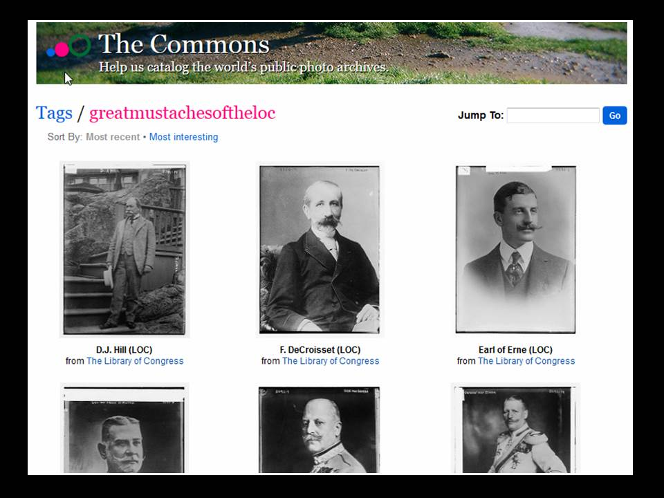 "Screenshot of the Flickr commons showing photos with the tag ""greatmustachesoftheloc"""