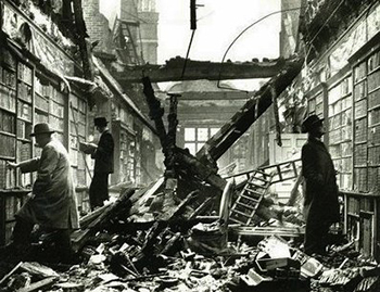 A library gutted by fire.