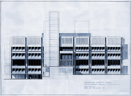 Preliminary sketch of Lauinger Library by John Carl Warnecke. Photo courtesy of Georgetown University Library.