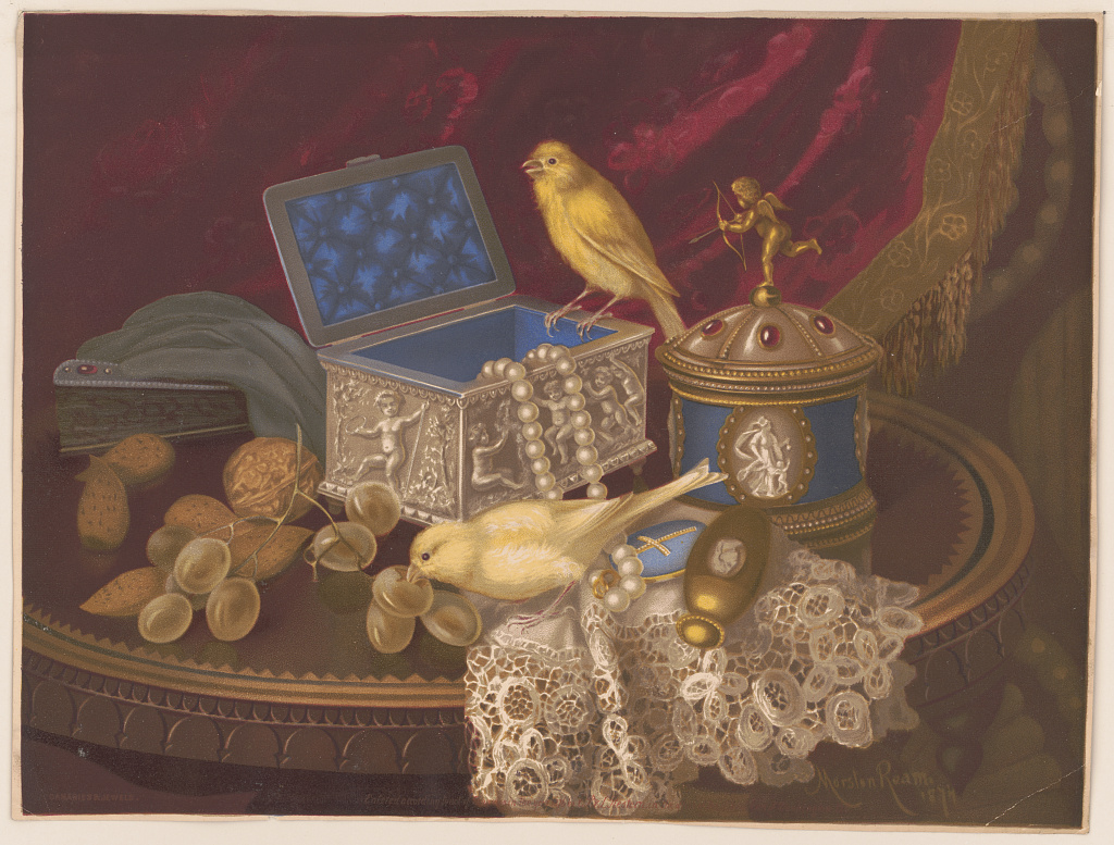 Painting of canaries and jewels