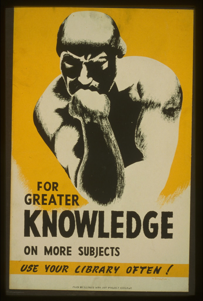 "Poster promoting library use, showing a man in a pose based on Rodin's ""Thinker."""