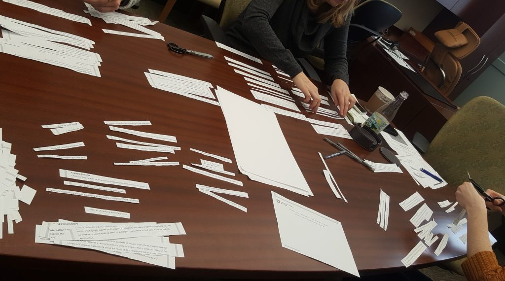 Women organizing slips of paper for physical prototype of LC for Robots webpage redesign