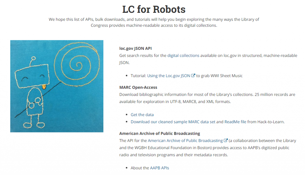 Screenshot of LC for Robots webpage with text and links for Library of Congress digital resources