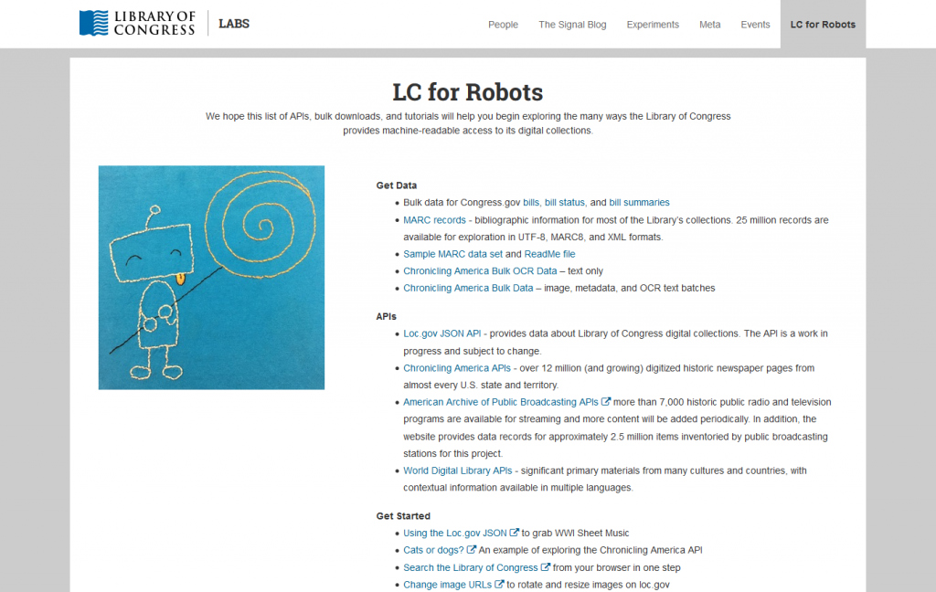 Screenshot of LC for Robots webpage