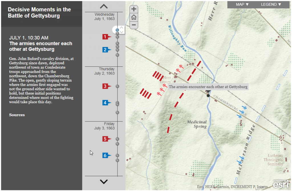 Interactive map of the Battle of Gettysburg.