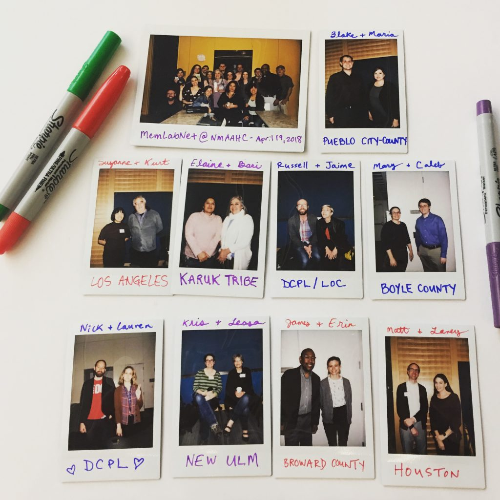 A grid of Polaroid images of representatives from the Partner Libraries