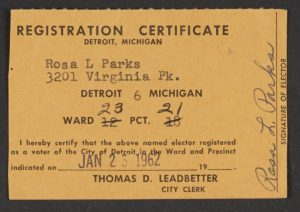 Rosa Park's voter registration card