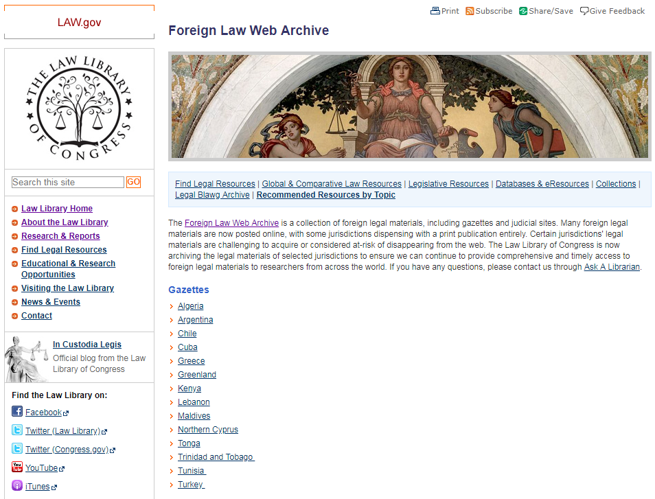 A screenshot of the Law.gov landing page for the Foreign Law Web Archive