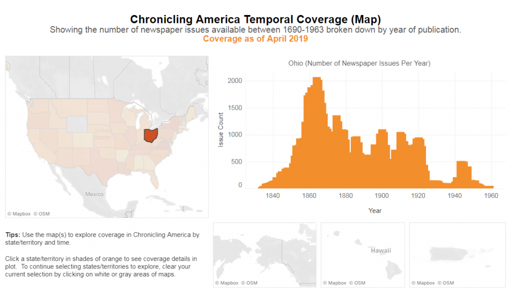 Map and chart of coverage of newspaper issues by year of publication.