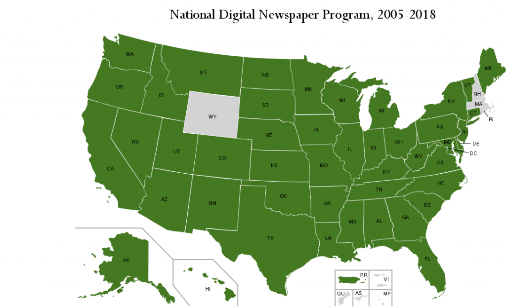 Map of the United States demonstrating participation in the National Digital Newspaper Program.