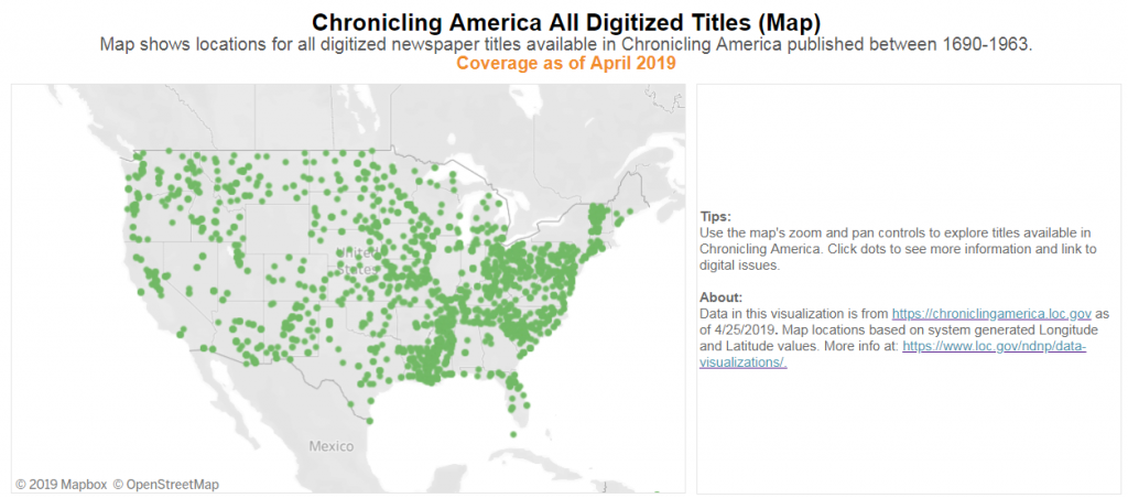 Map of U.S. demonstrating newspaper titles in Chronicling America.