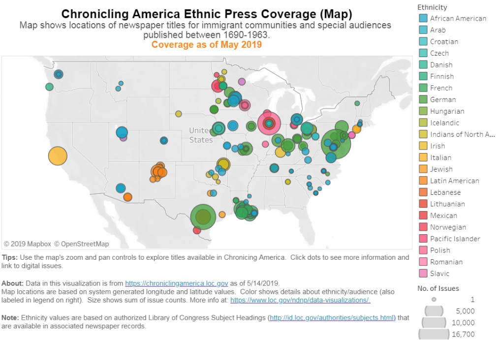 Map of United States demonstrating Ethnic Press coverage.