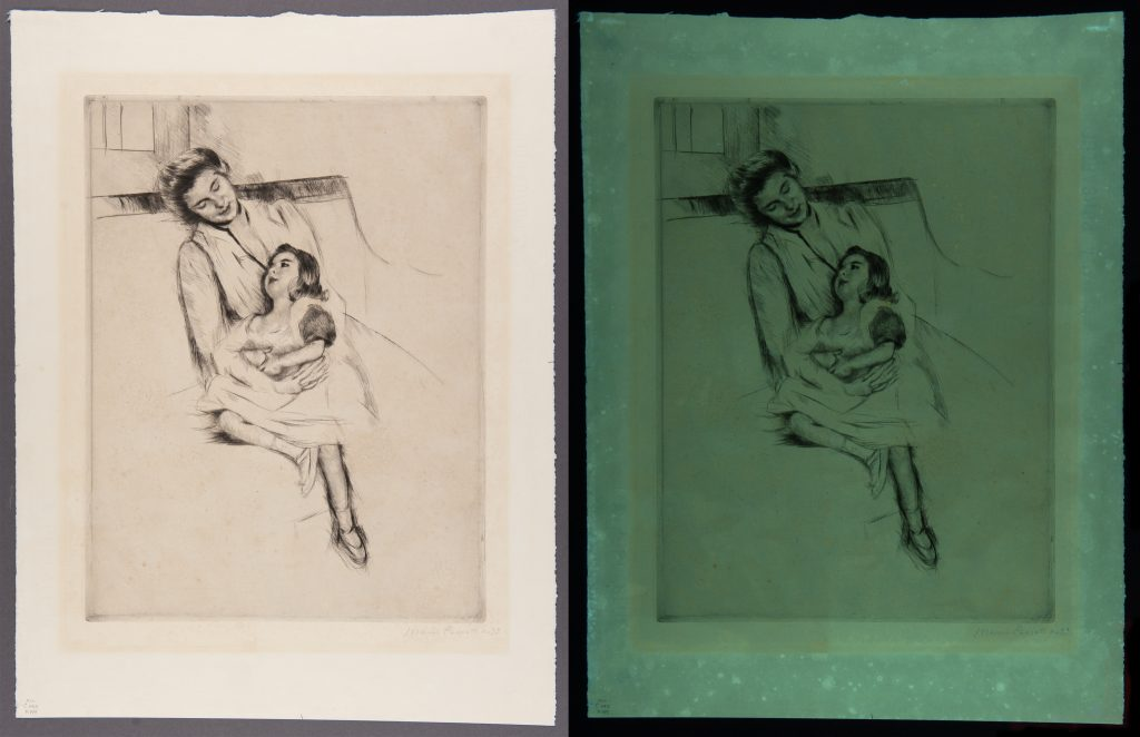 Two side-by-side images in comparison for conservation treatment