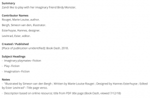 descriptive information, from the item page for Zandi and Birdy Monster (LCCN 2018296486).