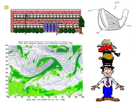 "Clockwise from top left: an image from the ""Kid's Page"" of the Bureau of Ocean Energy Management, Regulation and Enforcement website (9 KB, GIF); a diagram from the US Patent and Trademark Office's Patent Gazette (21.5 KB, GIF); clip art from Project Hanford's Human Resources website (4 KB; GIF); a forecast visualization from NASA's Center for Climate Simulation (439 KB, PNG)."