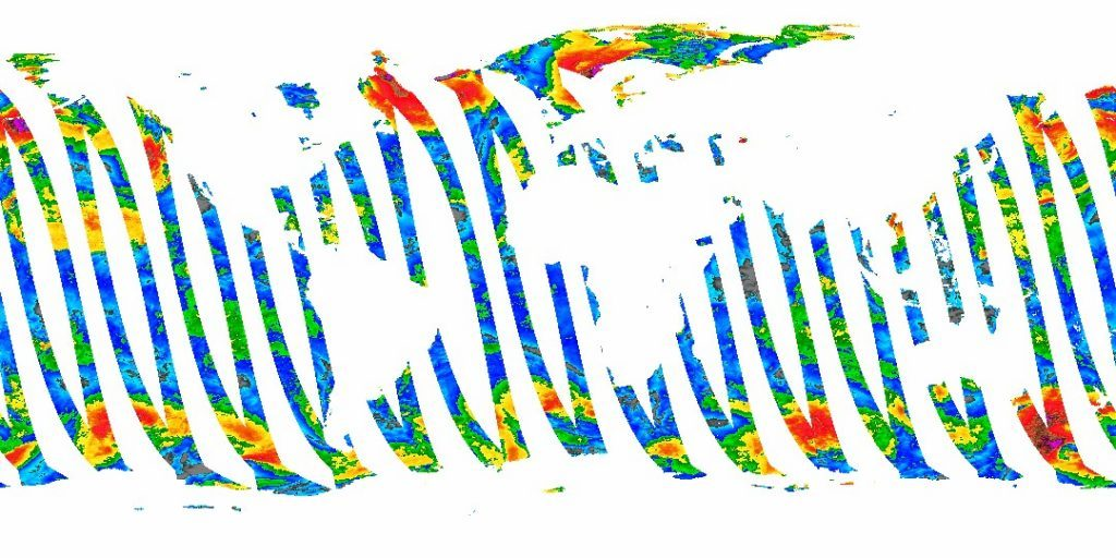 A visualization of advanced scatterometer data from NOAA's CoastWatch program (572 KB; TIFF).