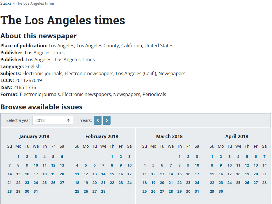 Screenshot of details for registering newspaper e-prints featuring the Los Angeles Times.