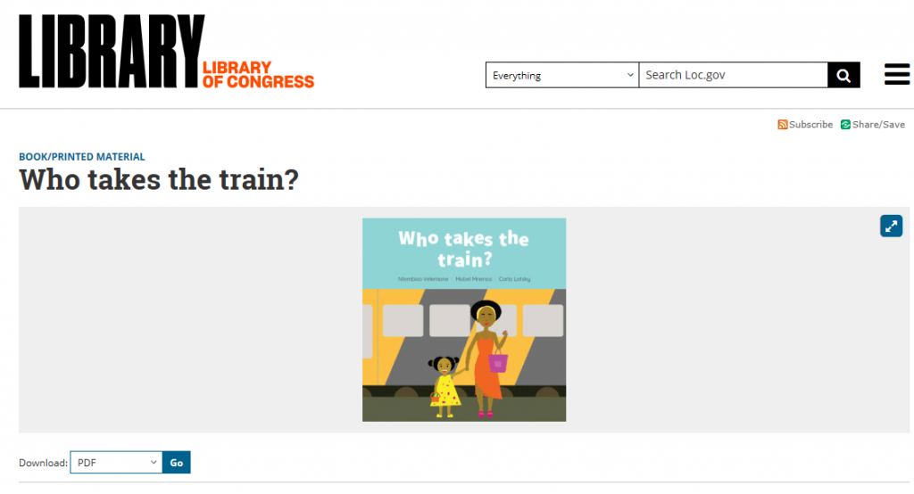 Screenshot of the webpage for an open access monograph acquired in the Digital Collecting process: Who Takes the Train.
