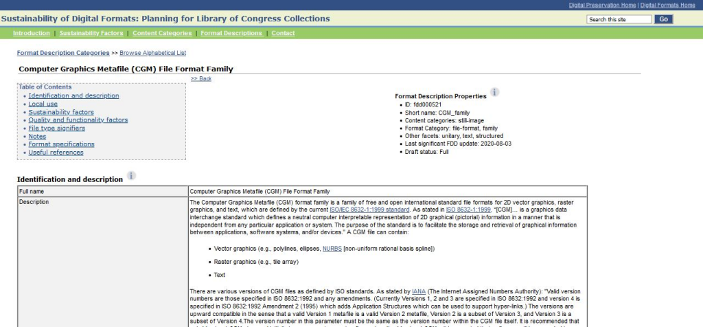 The completed CGM FDD published on the Library's Sustainability of Digital Formats site.