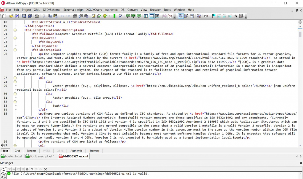 "Screenshot of raw XML formatting in an XML editor. This is the tool used to ""write"" the FDD and ensure that formatting for text and added links are appropriate before publishing."