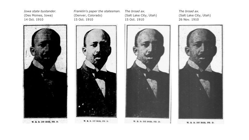 Four side by side images of a portrait of W.E.B. Du Bois