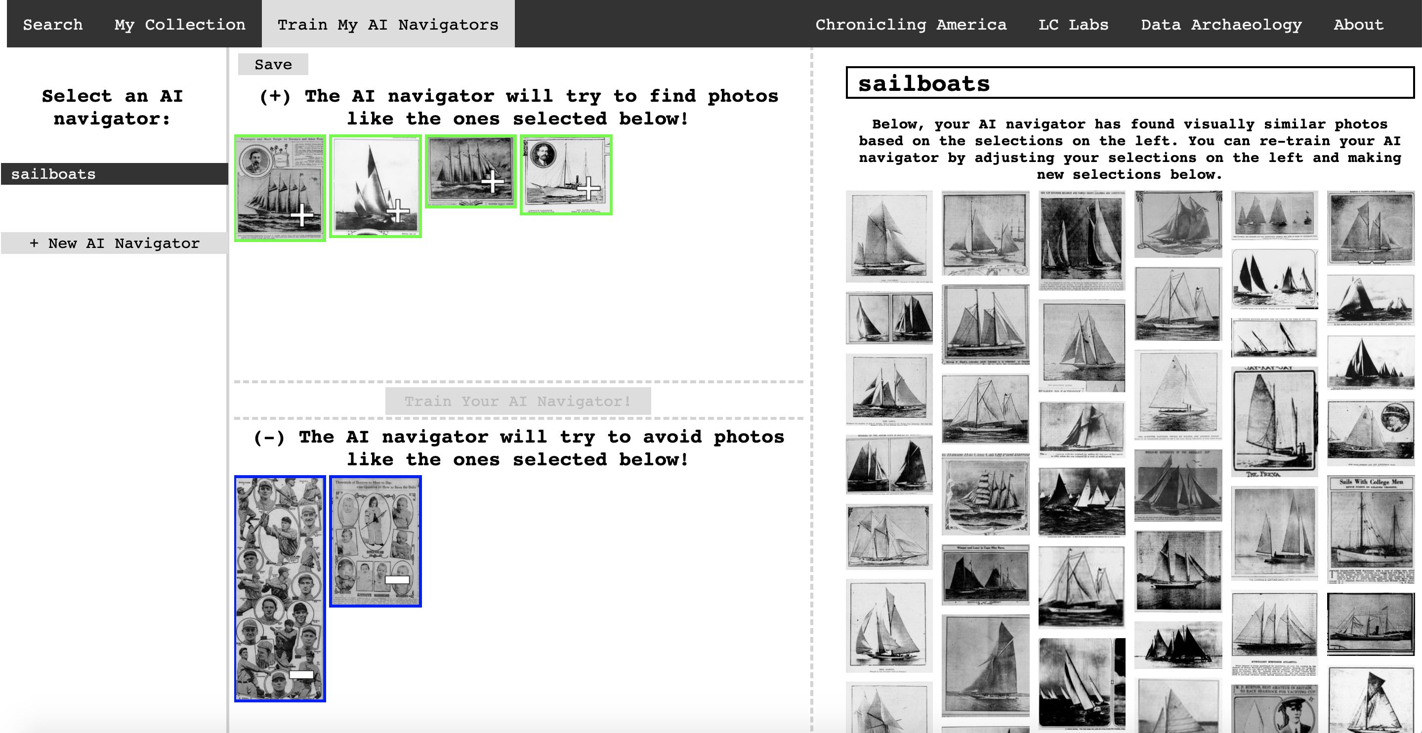 A screenshot of a web application showing images of sailboats from historic newspapers. The top is a selection of photos that closely resemble sailboats. The bottom displays images of false negatives, images that are not of sailboats.