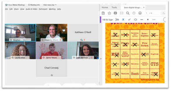 screen capture of several people's videos in WebEx next to an image of an orange bingo board