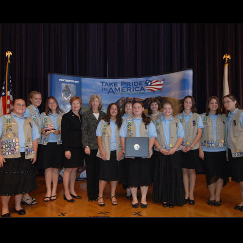 New Concord, Ohio, Girl Scout Troups 187 and 506 Honored with 2005 Take Pride in America Award, 09/29/2005