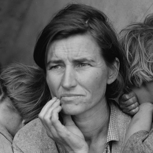 Destitute pea pickers in California. Mother of seven children. Age thirty-two. Nipomo, California.